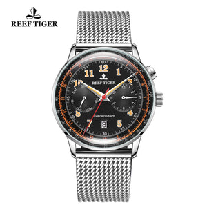 Reef Tiger Limited Edition Respect Business Men Steel Black Dial Automatic Watches RGA9122-YBYO