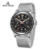 Reef Tiger Limited Edition Respect Business Men Steel Black Dial Automatic Watches RGA9122-YBY