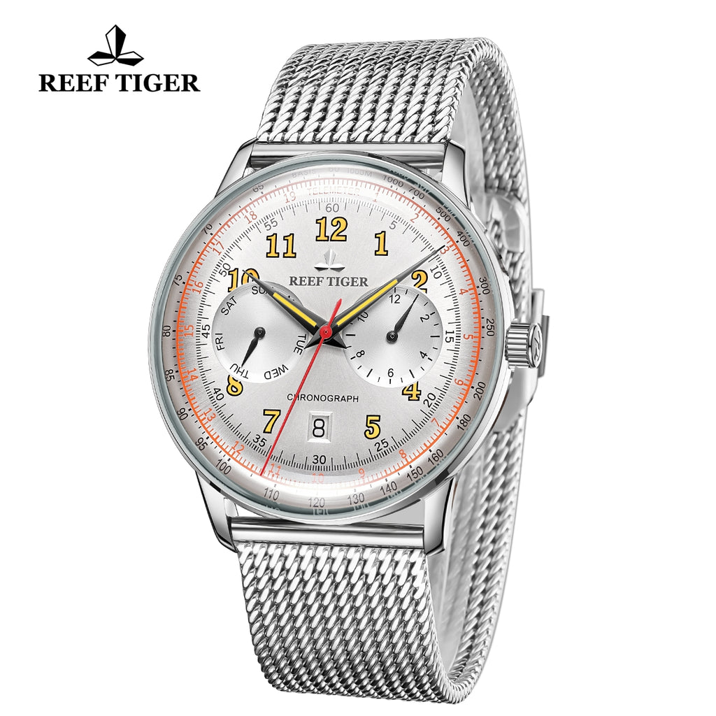 Reef Tiger Limited Edition Respect Business Men Steel White Dial Automatic Watches RGA9122-YWYO
