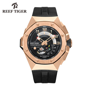 Reef Tiger Rose Gold Automatic Mechanical Sport Watches Mens Watach RGA92s7