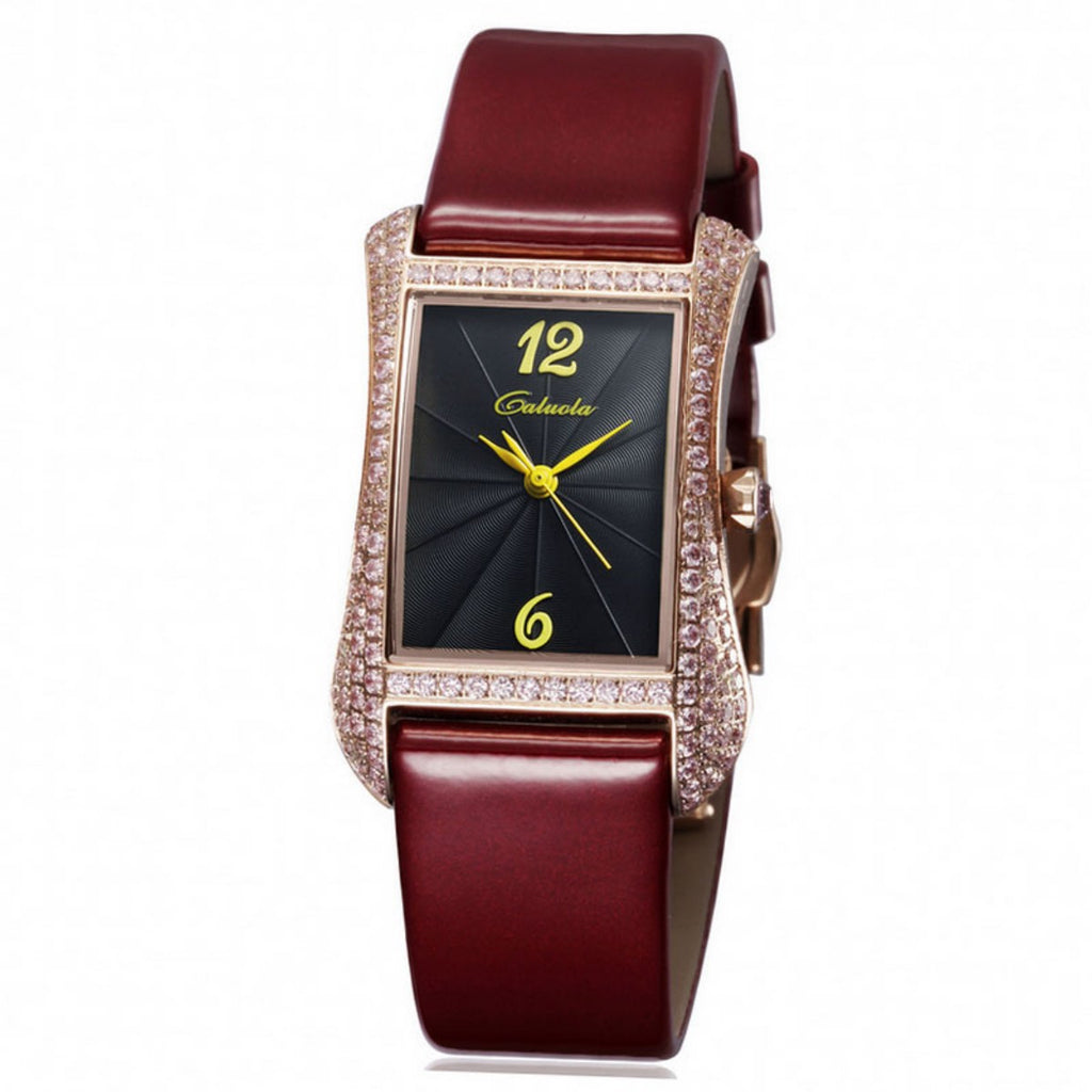 Caluola Women Watch Fashion Tonneau Design Quartz Watch Diamond Casual CA1109L