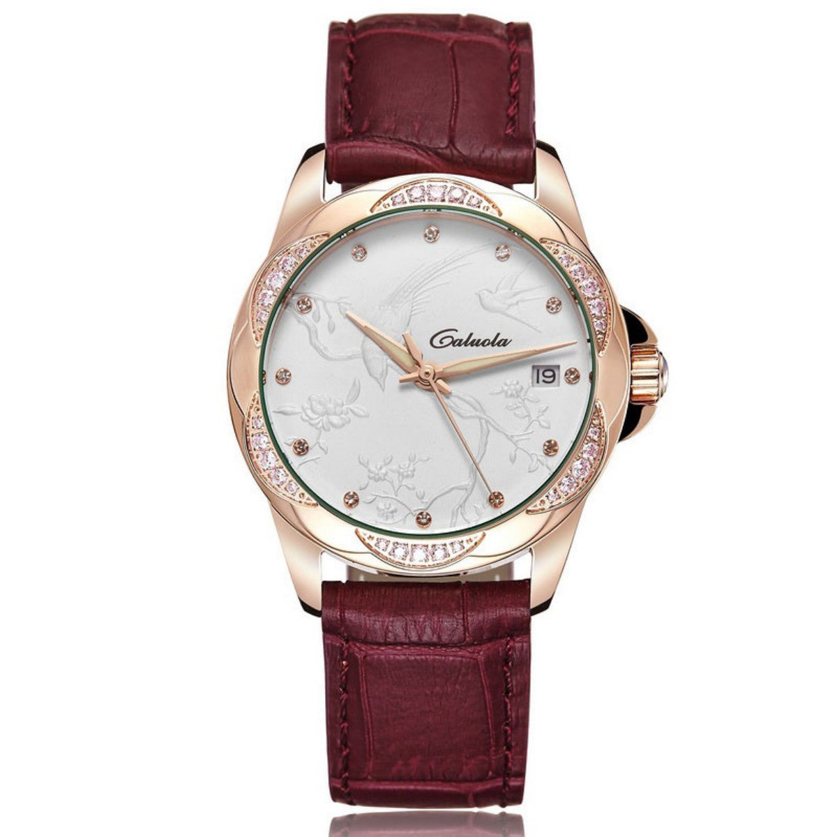 Caluola Automatic Watch Date Fashion Women Relief Elegant Diamond Watch CA1140ML