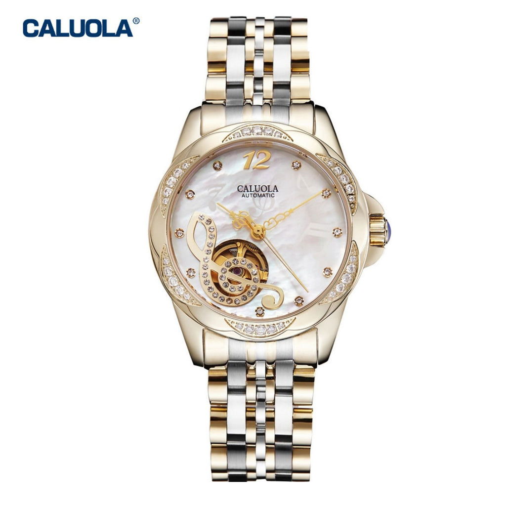 Caluola Women Watch Automatic Diamond Yellow Gold Fashion Business Watch 1181