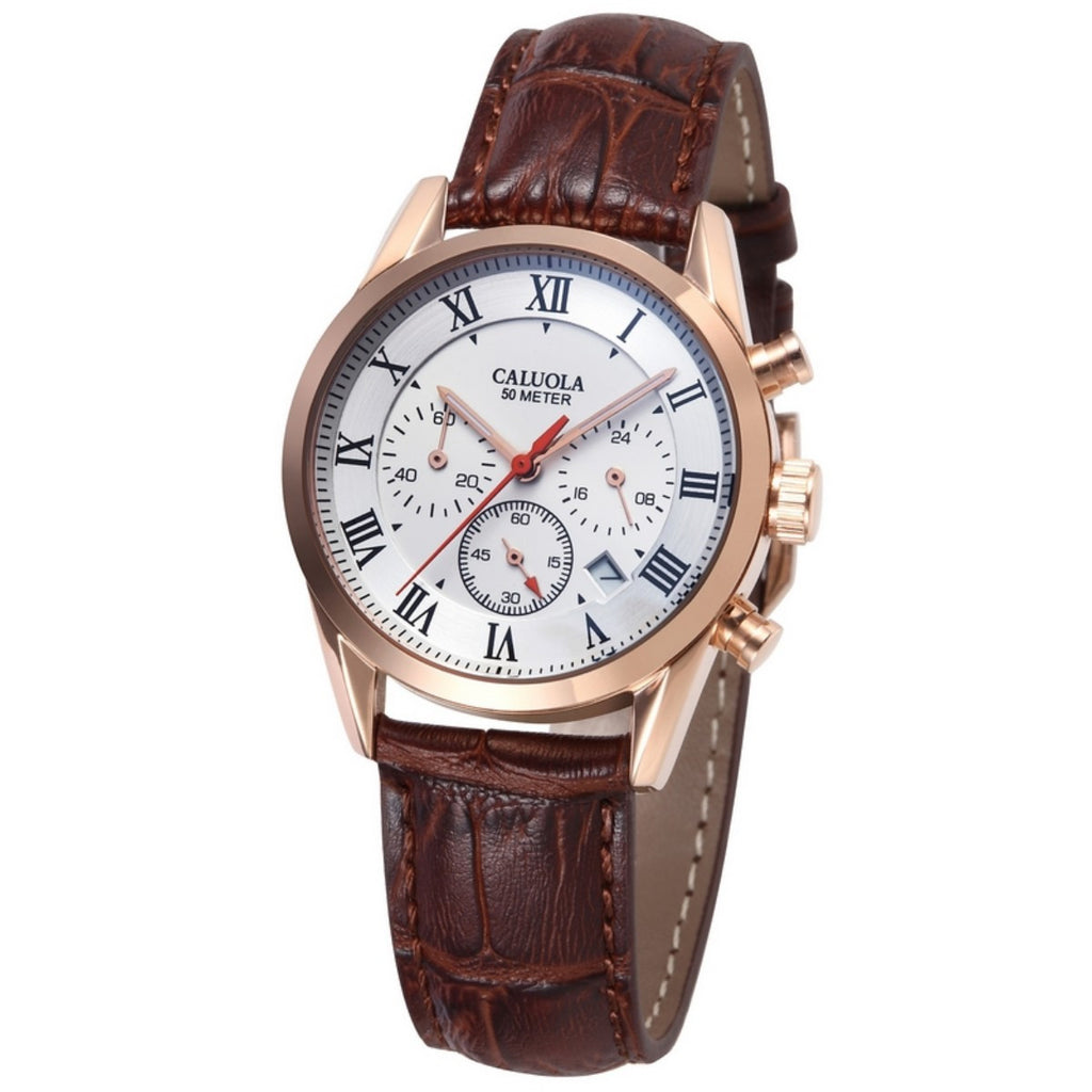 Caluola Quartz Women Watch Simple Leather Strap Fashion Design  CA1060G
