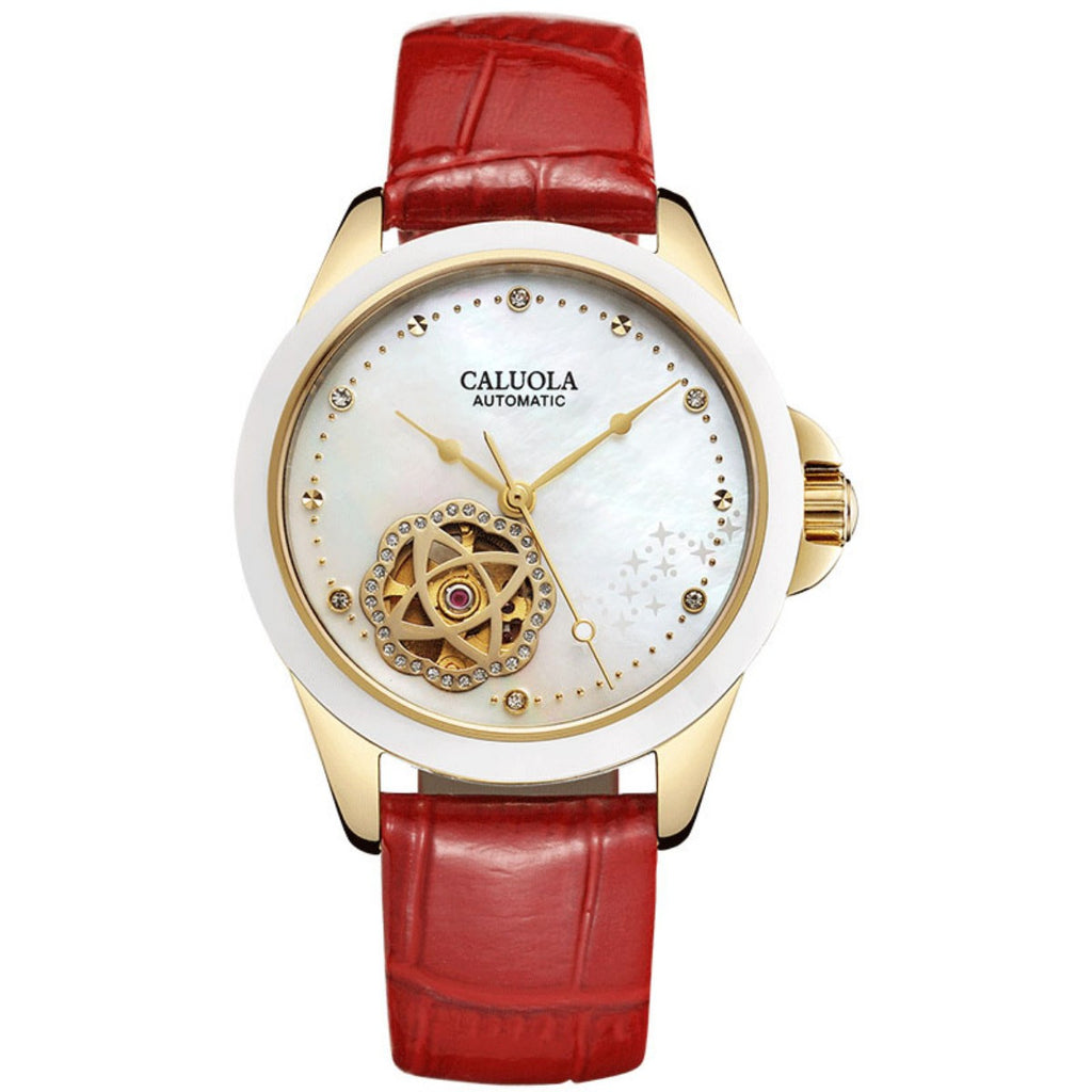 Caluola Automatic Watch Fashion Leather Skeleton Dial Women Watch 1212