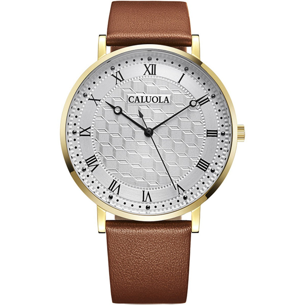 Caluola Men Watch Quartz Fashion Leather Business Watch CA1087L