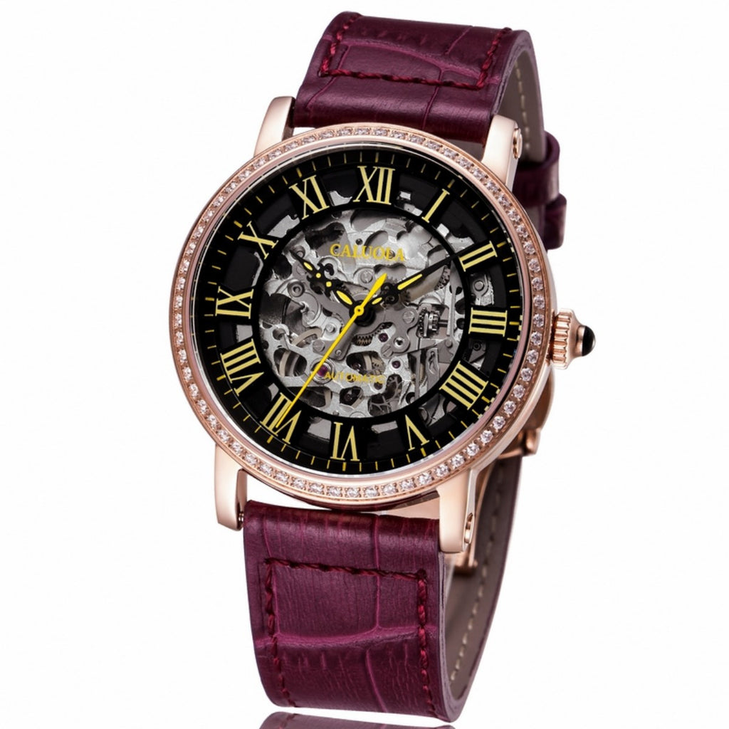 Caluola Women Watch Automatic Rose Gold Skeleton Dial Fashion Watch 1115