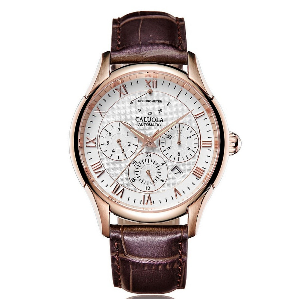 Caluola Fashion Automatic Watch Leather Strap Business Men Watch CA1149