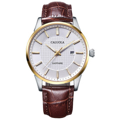 Caluola Business Watch Fashion Quartz Leather Strap Watch Men Casual Watch CA1215