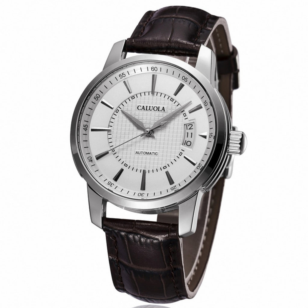 Caluola Men Watch Automatic Watch Leather Date Sport Watch Fashion CA1014MM