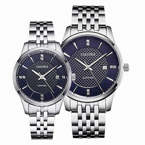 Caluola Quartz Fashion Watch with Date Couple Watch Steel Simple CA1196GL