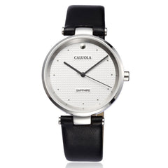 Caluola Quartz Men Watch Big Dial Fashion Design Simple Leather CA1055L
