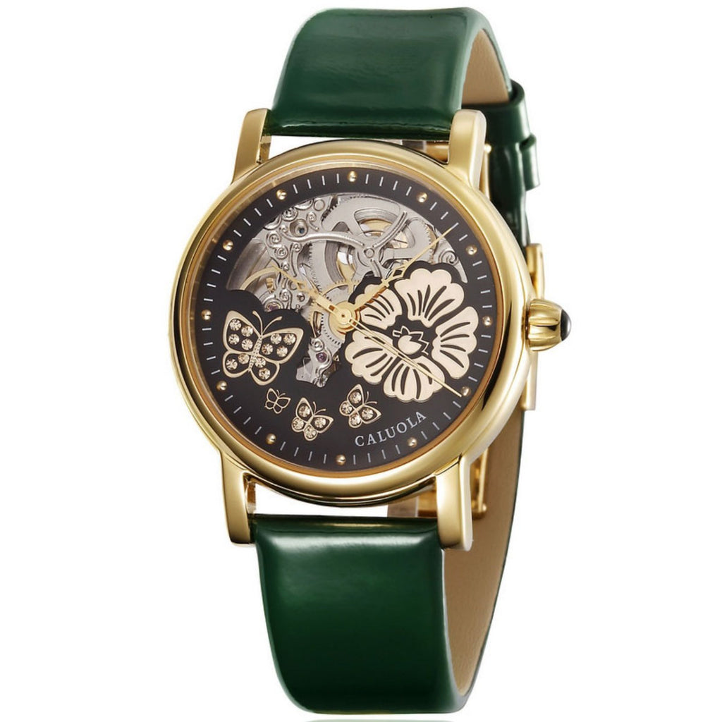 Caluola Fashion Watch Automatic Skeleton Yellow Gold Women Watch Leather CA1090M