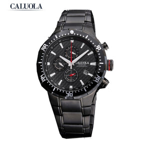 Caluola Quartz Watch Sport Date Chronograph Men Watch Waterproof CA1041GOS