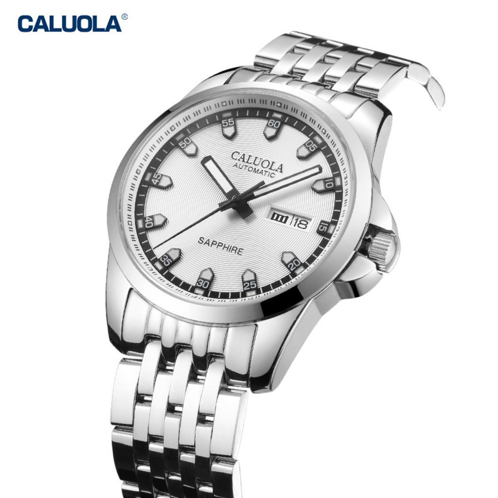 Caluola New Luminous Mens Watch Steel Business Automatic Watches with Date Day 1170