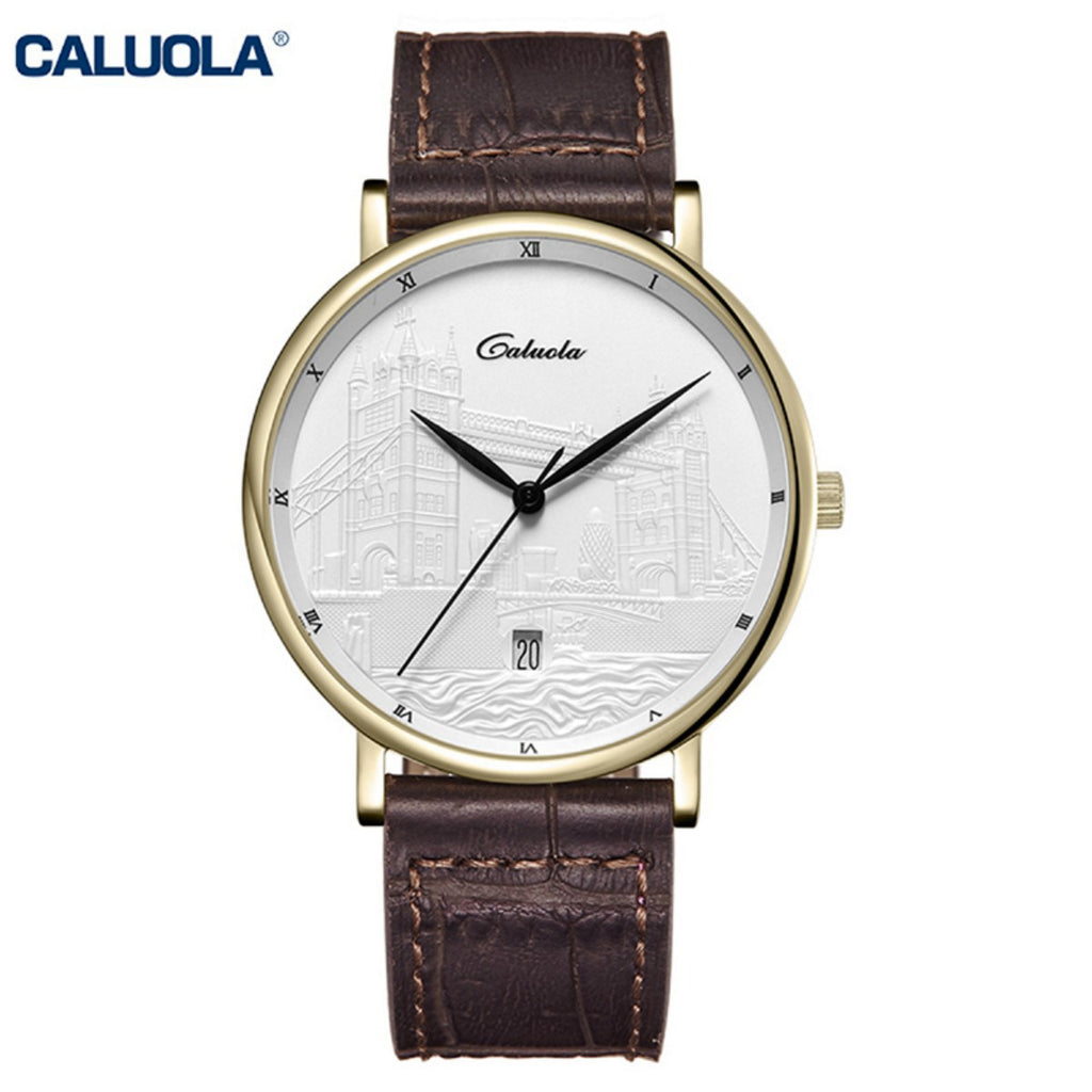 Caluola Fashion Leather Band Watch Men Luxury Yellow Gold Analog Watches CA1220
