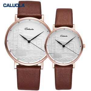 Caluola Fashion Couple Watches for Men Women Rose Gold Ultra Thin Quartz Watch CA1119GL