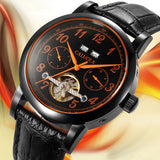 Caluola Tourbillon Automatic Watch Day-Date Full Black Fashion Men Watches CA1048M2