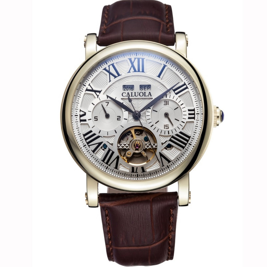Caluola Casual Tourbillon Watch Men Multi-function Brown Leather Strap Rose Gold Watch CA1064