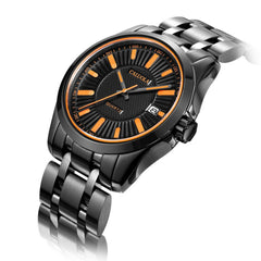 Caluola Fashion Sport Watches Mens Black Stainless Steel Quartz Watch with Date CA1005G