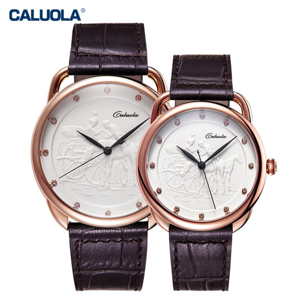 Caluola Ultra Thin Couple Watches Leather Strap Quartz Lover Watches for Men Women CA1119GL