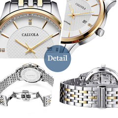 Caluola Quartz Men Watch with Date Fashion Simple Watch Waterproof CA1196GL