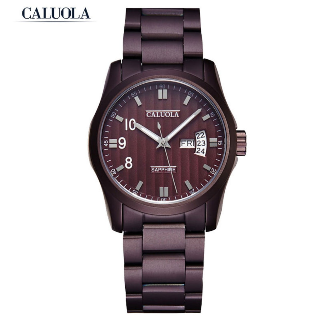 Caluola Fashion Quartz Watch Men Watch Day-Date PVD Watch CA1005G