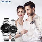 Caluola Business Couple Watch Quartz Date Luminous Casual Watches Steel CA1022G