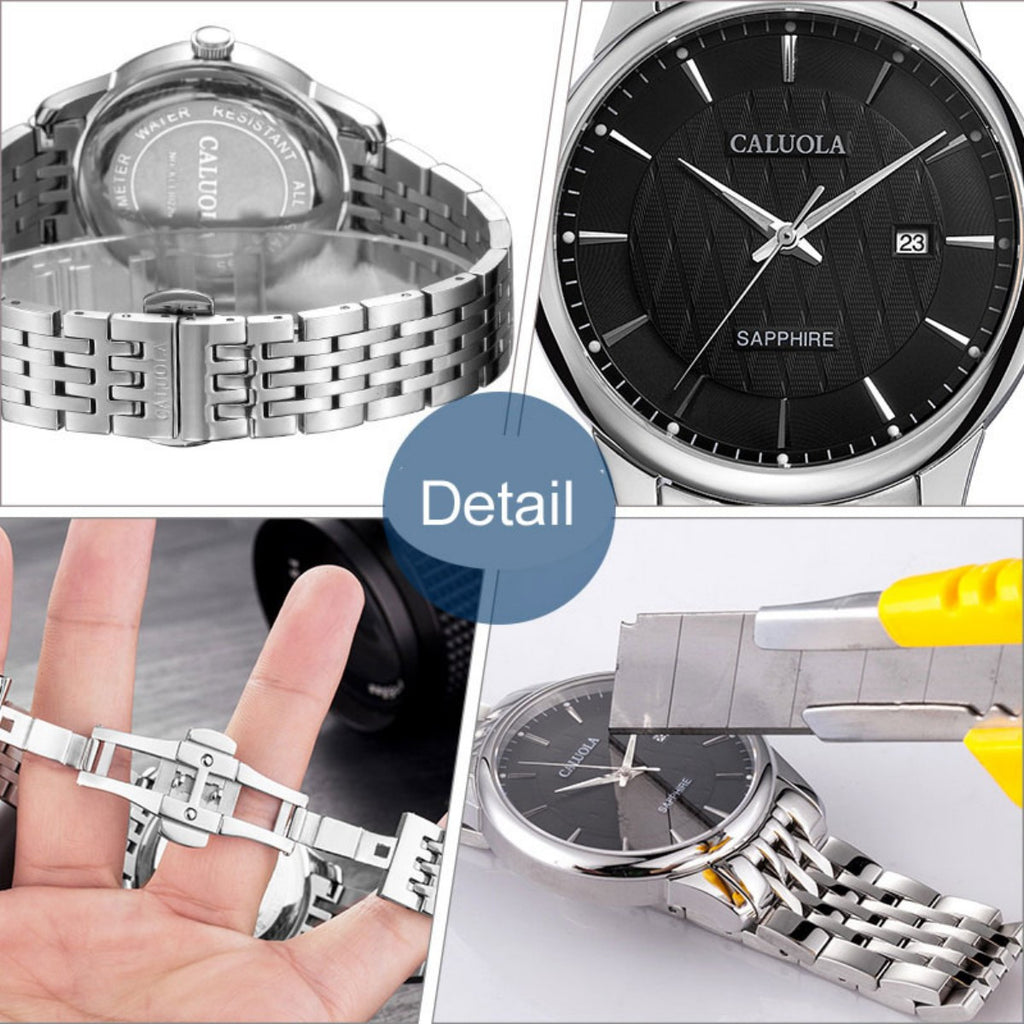 Caluola Quartz Watch Business Date Steel Casual Men Fashion Watches CA1022G