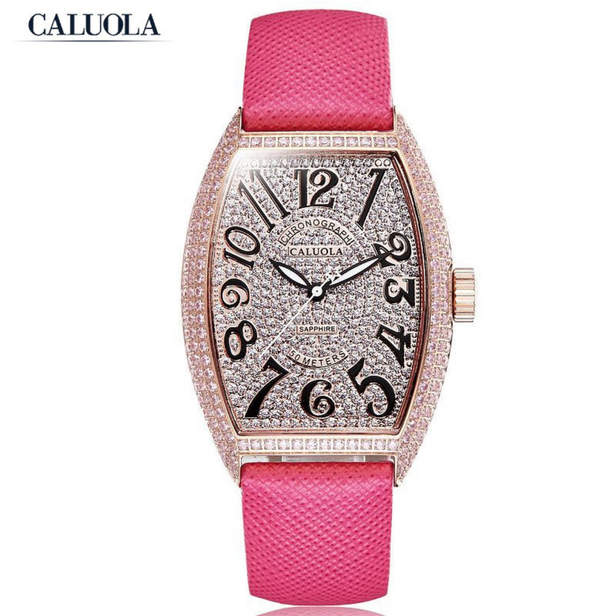 Caluola Fashion Quartz Watch Women Rose Gold Diamond Dress Watch CA1141L1