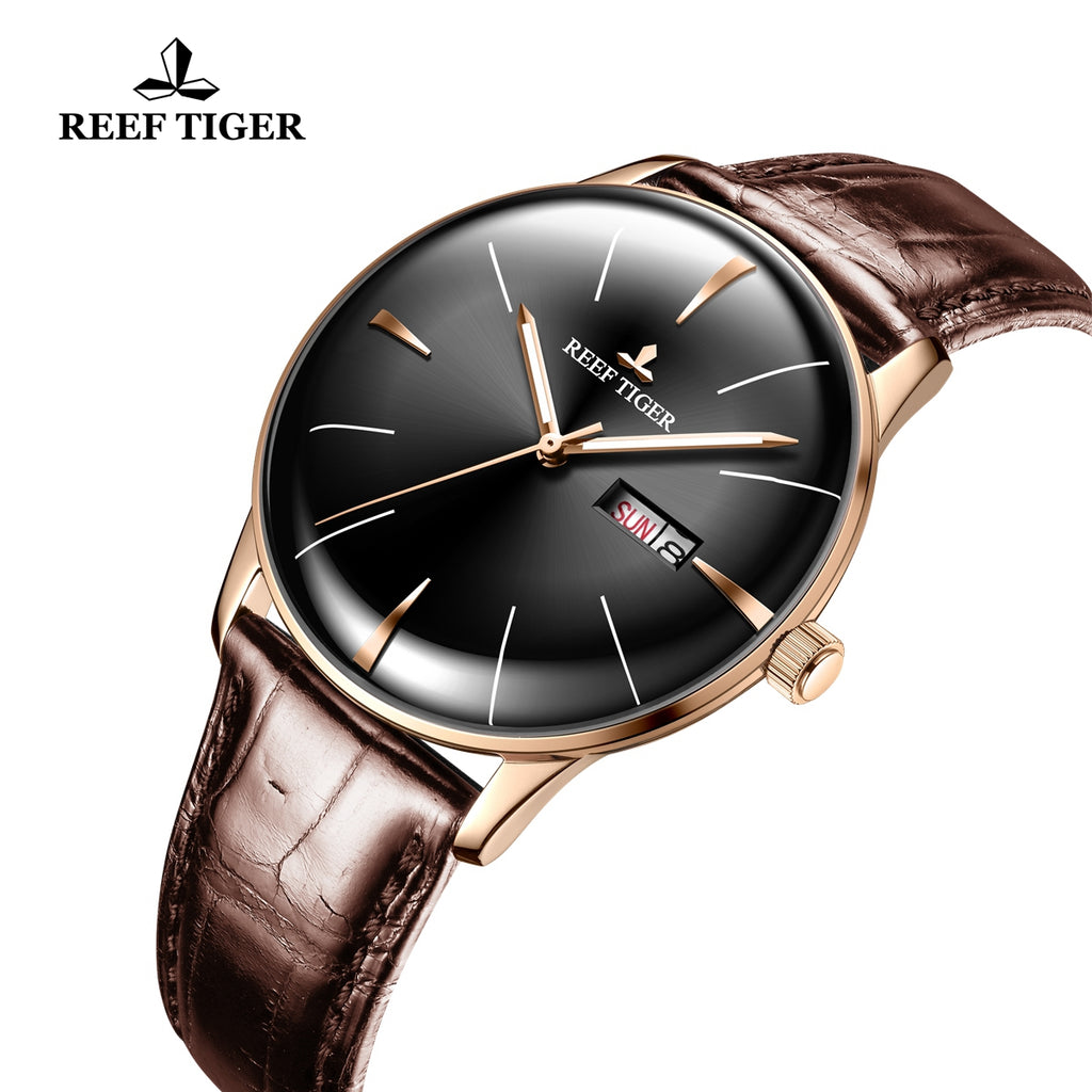 Reef Tiger Classic Heritor Rose Gold Business Mens Black Dial Leather Strap Watch RGA8238