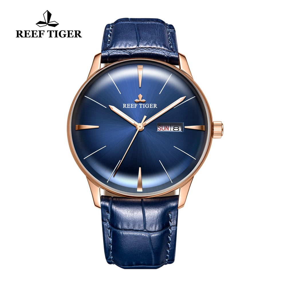 Reef Tiger Classic Heritor Rose Gold Business Mens Blue Dial Leather Strap Watch RGA8238