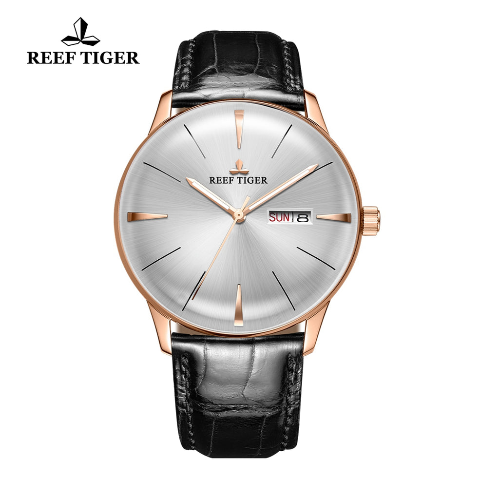 Reef Tiger Classic Heritor Rose Gold Business Mens White Dial Leather Strap Watch RGA8238