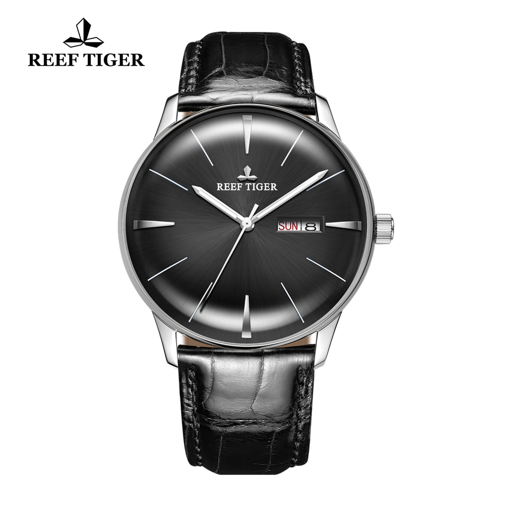 Reef Tiger Classic Heritor Fashion Business Mens Steel Black Dial Leather Strap Watch RGA8238