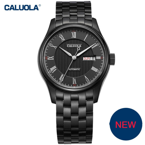 Caluola Automatic Men Watch Business Fashion PVD Watches with Day-Date CA1092M