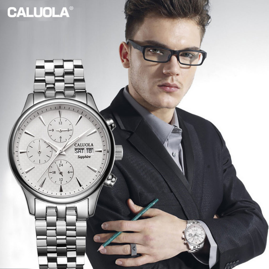 Caluola Automatic Watch With Day-Date Month 24-Hour Business Men Watch CA1112M