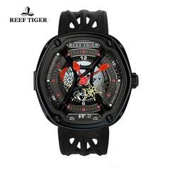 Reef Tiger Red Night Luminescent Skeleton Dial Men's Black Rubber Watch RGA90S7