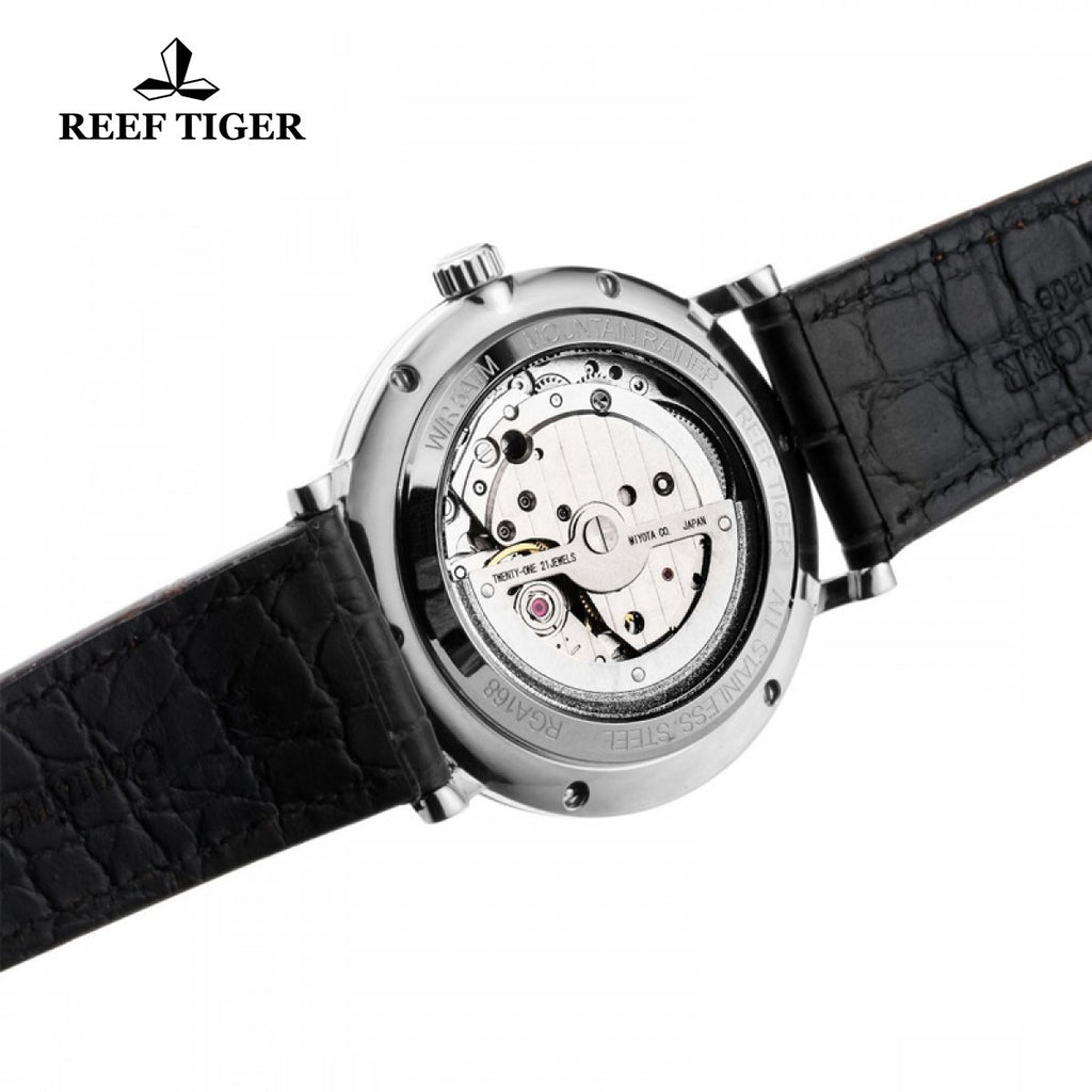 Reef Tiger Casual Mens Steel White Dial Automatic Watch with Date RGA161