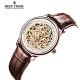 Reef Tiger Designer Mens Black Skeleton Leather Strap Rose Gold Watch RGA1975