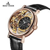 Reef Tiger Artist Magician Men's Casual Skeleton Leather Strap Automatic Watch RGA1995-PSSS