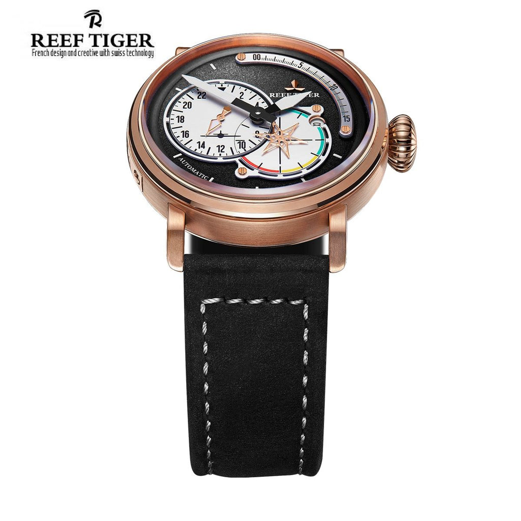 Reef Tiger Mens Fashion Green Leather Strap Rose Gold Case Watch with Date RGA3019
