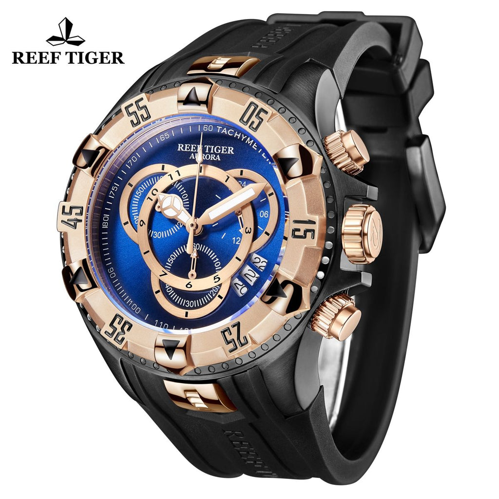 Reef Tiger Aurora Hercules II Fashion Rose Gold Mens Black Dial Quartz Watch RGA303-2-BBBP