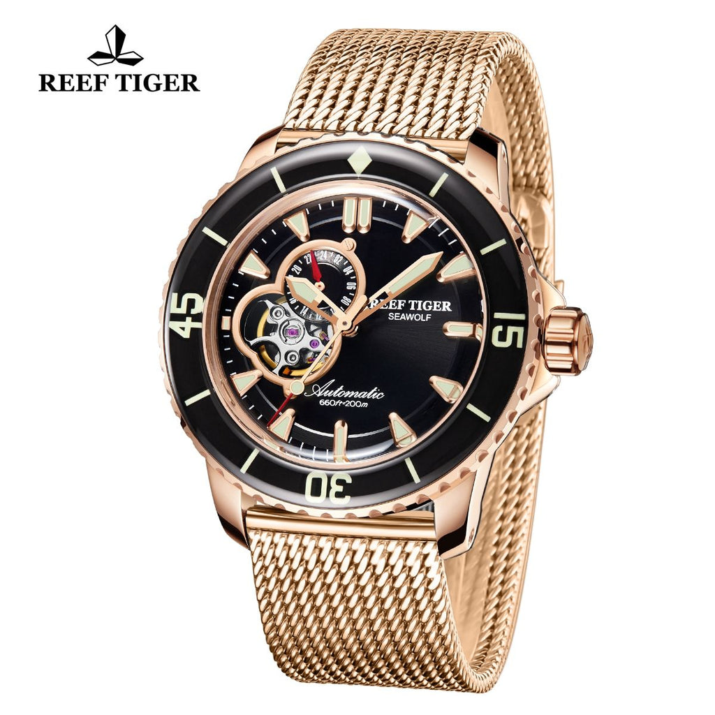 Reef Tiger Dive Watch For Men Super Luminous Rose Gold Blue Dial Sport Watches RGA3039-PLP