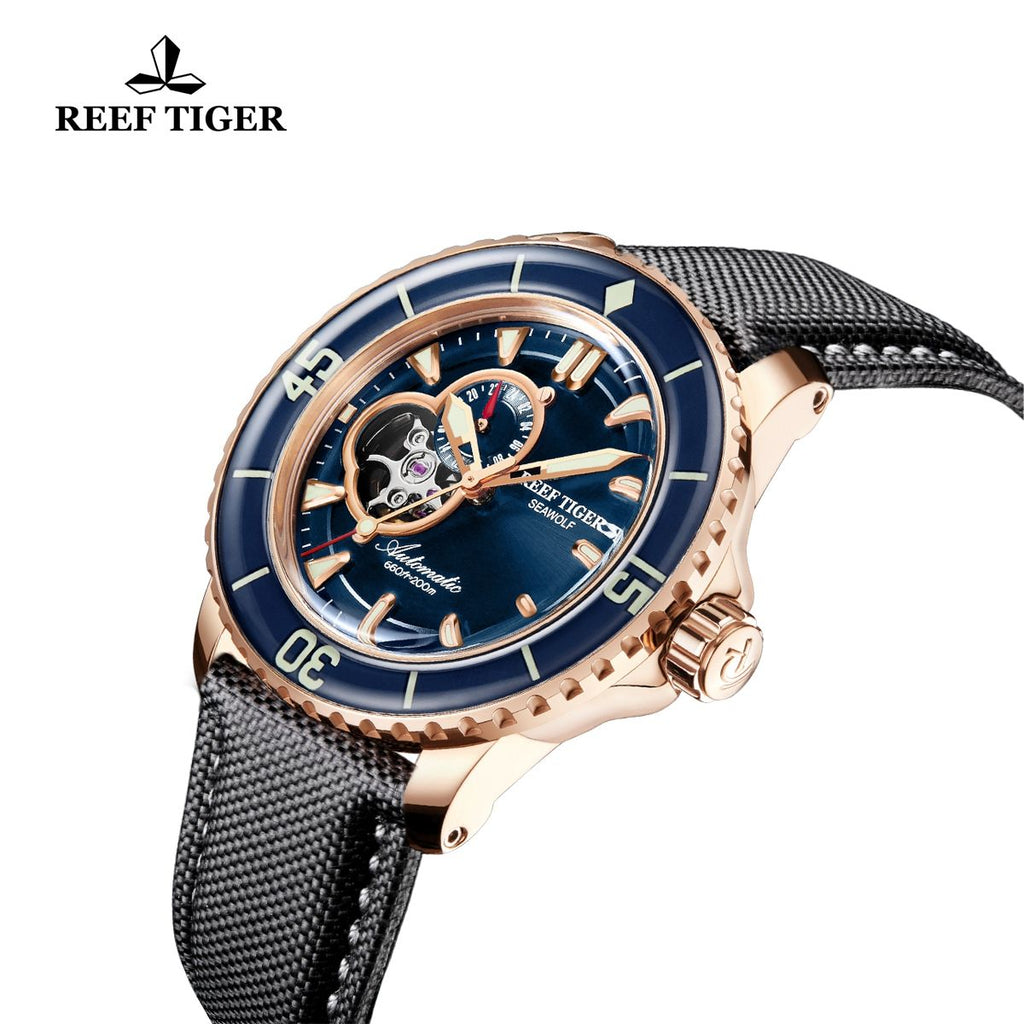 Reef Tiger Dive Watch For Men Super Luminous Rose Gold Skeleton Sport Watches RGA3039-PLL