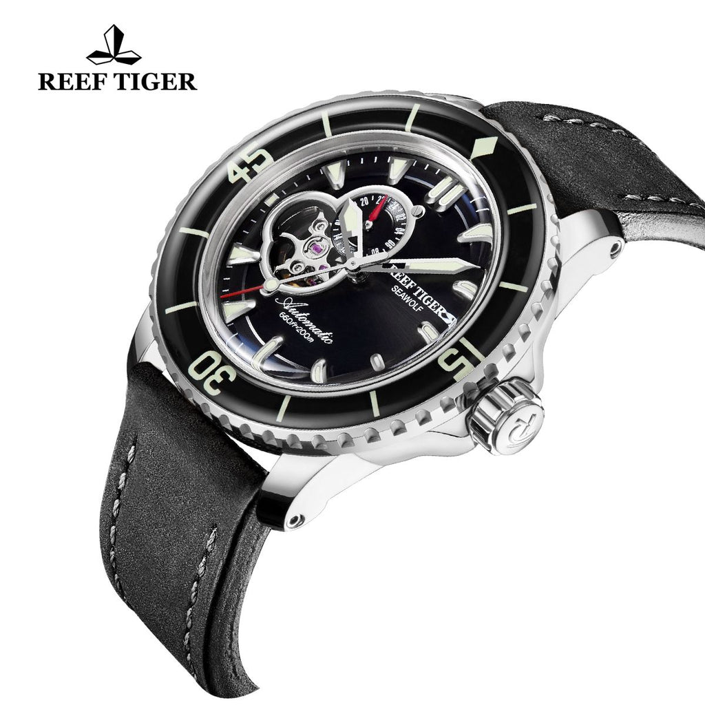 Reef Tiger Sport Watch For Men Super Luminous Rose Gold Blue Dial Skeleton Dive Watches RGA3039-PLBC