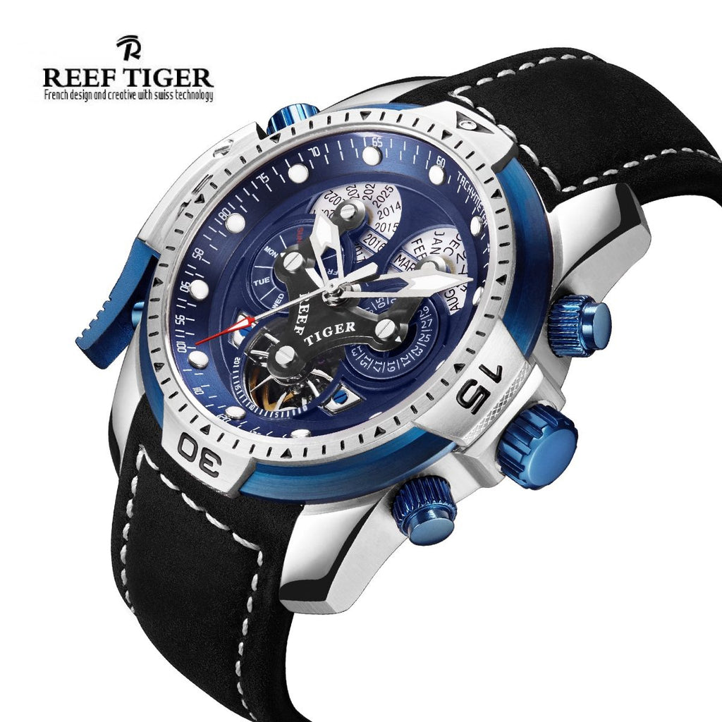 Reef Tiger Mens Complicated Watch Blue Dial Brown Strap Date Day RGA3503