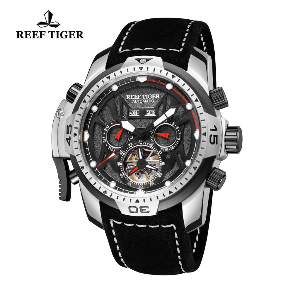 Reef Tiger Mens Sport Luminous Brown Leather Steel Automatic Watch RGA3532