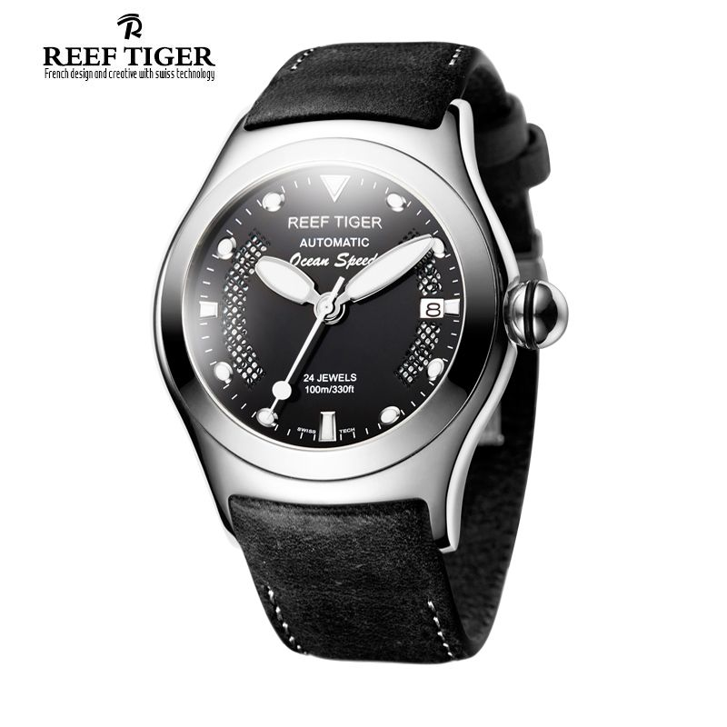 Reef Tiger Sport Date Steel Black Dial Luminous Yellow Markers Automatic Watch RGA704