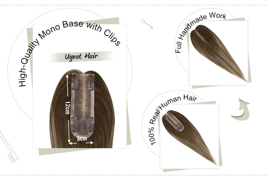 12x6cm Mono Crown Toppers Hairpieces for Thinning Hair Balayage Color 4-27-4