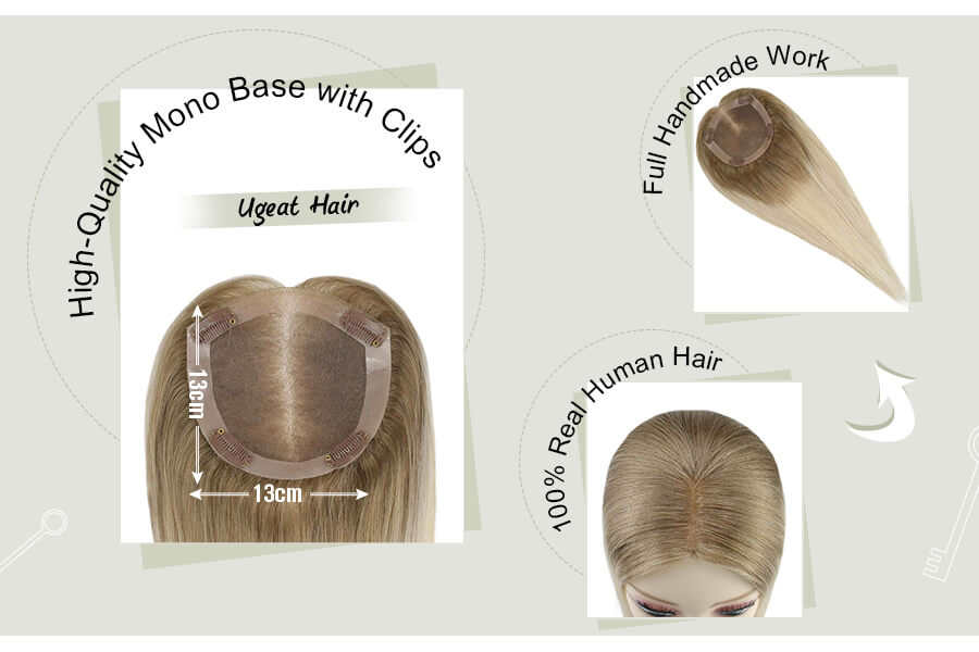 Mono Human Hair Toppers for Women 13×13cm Hair Topper Balyage Ombre Color 6T613